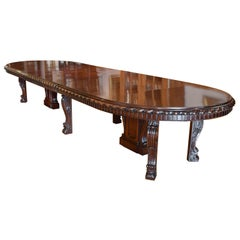 New York Gilded Age 12'-20' Long Extension Dining Table in West Indies Mahogany