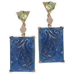 20 Karat Aventurine and Peridot Earrings