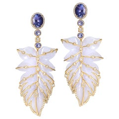 20 Karat Blue Chalcedony Feather Earrings