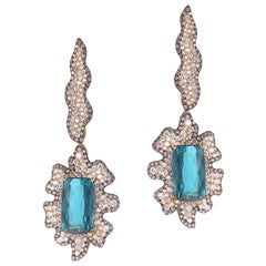 20 Karat Blue Tourmaline and Diamond Earrings