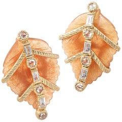 20 Karat Carnelian Leaf Earrings