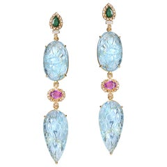 20 Karat Carved Aquamarine Earrings