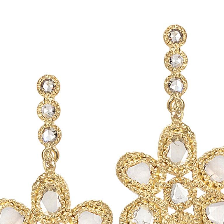 Women's 20 Karat Diamond Flower Earrings For Sale