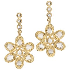 20 Karat Diamond Flower Earrings