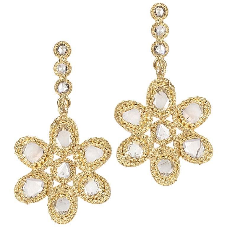 20 Karat Diamond Flower Earrings For Sale