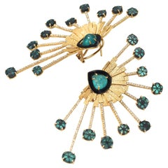 20 Karat Emerald and Diamond Bloom Earrings