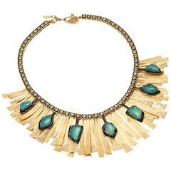 20 Karat Emerald and Diamond Sunburst Necklace