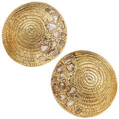 20 Karat Eternity Diamond Button Earrings