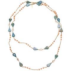 20 Karat Gemstone Inlay Chain Necklace