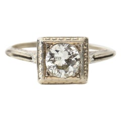 20 Karat Gold Hand Carved Gallery Art Deco Diamond Solitaire Ring Squared Head