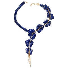 20 Karat Lapis Flower Necklace