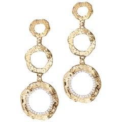 20 Karat Open Serenity Three Flower Drop Diamond Earrings