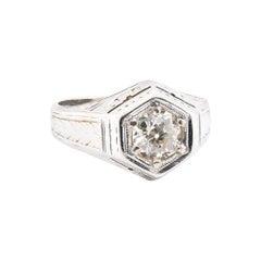 20 Karat White Gold Vintage Diamond Engagement Ring