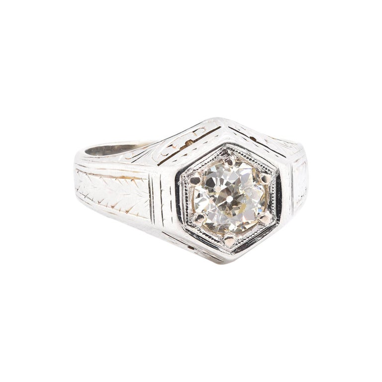20 Karat White Gold Vintage Diamond Engagement Ring For Sale