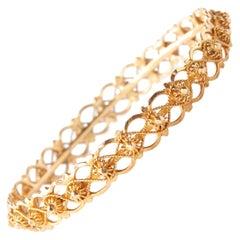 20 Karat Yellow Gold Filigree Bangle Bracelet