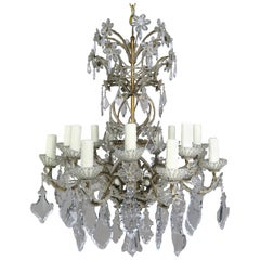 20-light Italian Crystal Beaded Chandelier with Crystal Flowers