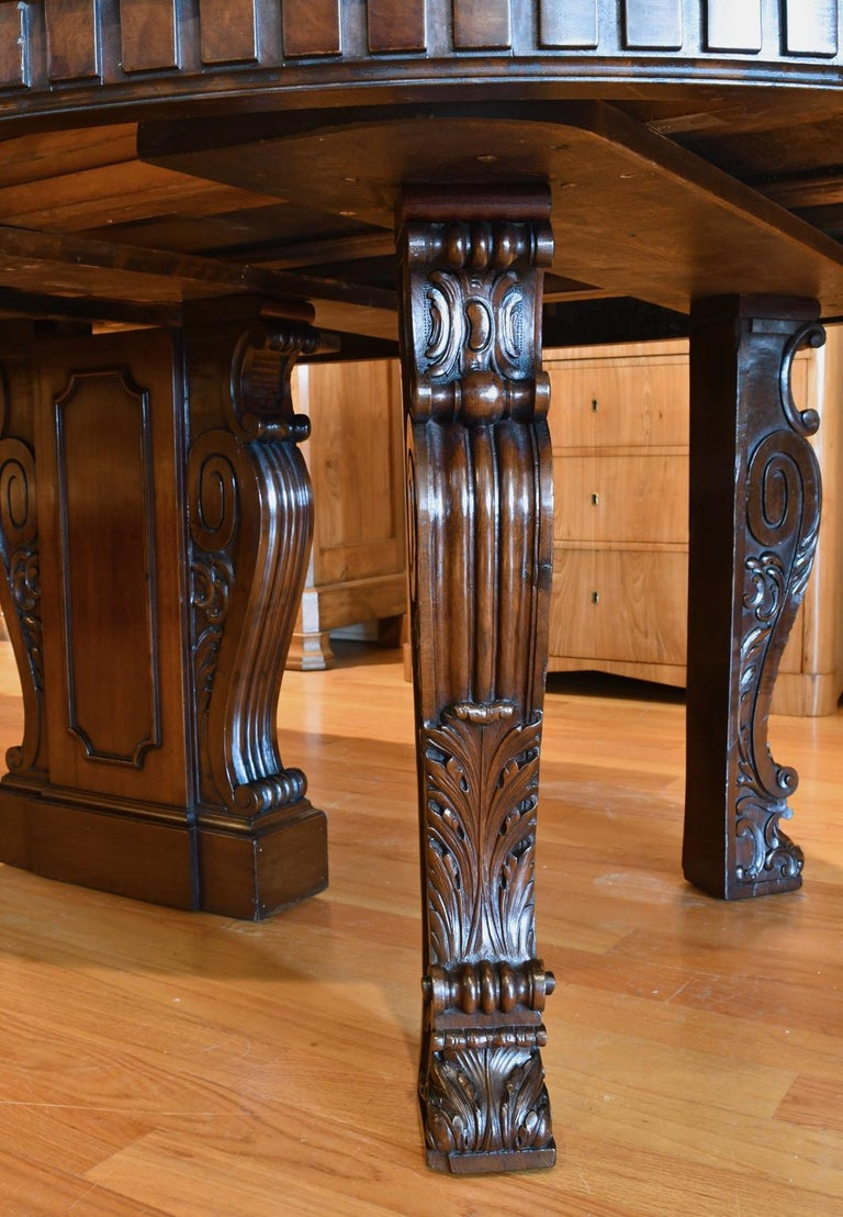 20 Ft. Long Belle Époque Extension Dining Table in Mahogany, New York, c. 1890 For Sale 9