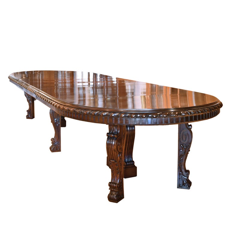 Long Dining Tables For Sale: 20' Long New York Belle Époque Extension Dining Table In