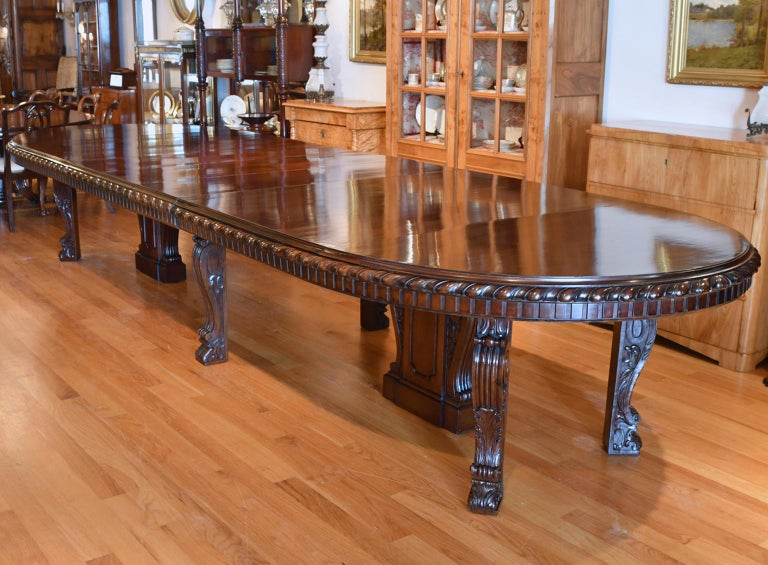 20 Ft. Long Belle Époque Extension Dining Table in Mahogany, New York, c. 1890 For Sale 1