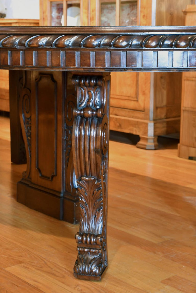 20 Ft. Long Belle Époque Extension Dining Table in Mahogany, New York, c. 1890 For Sale 5