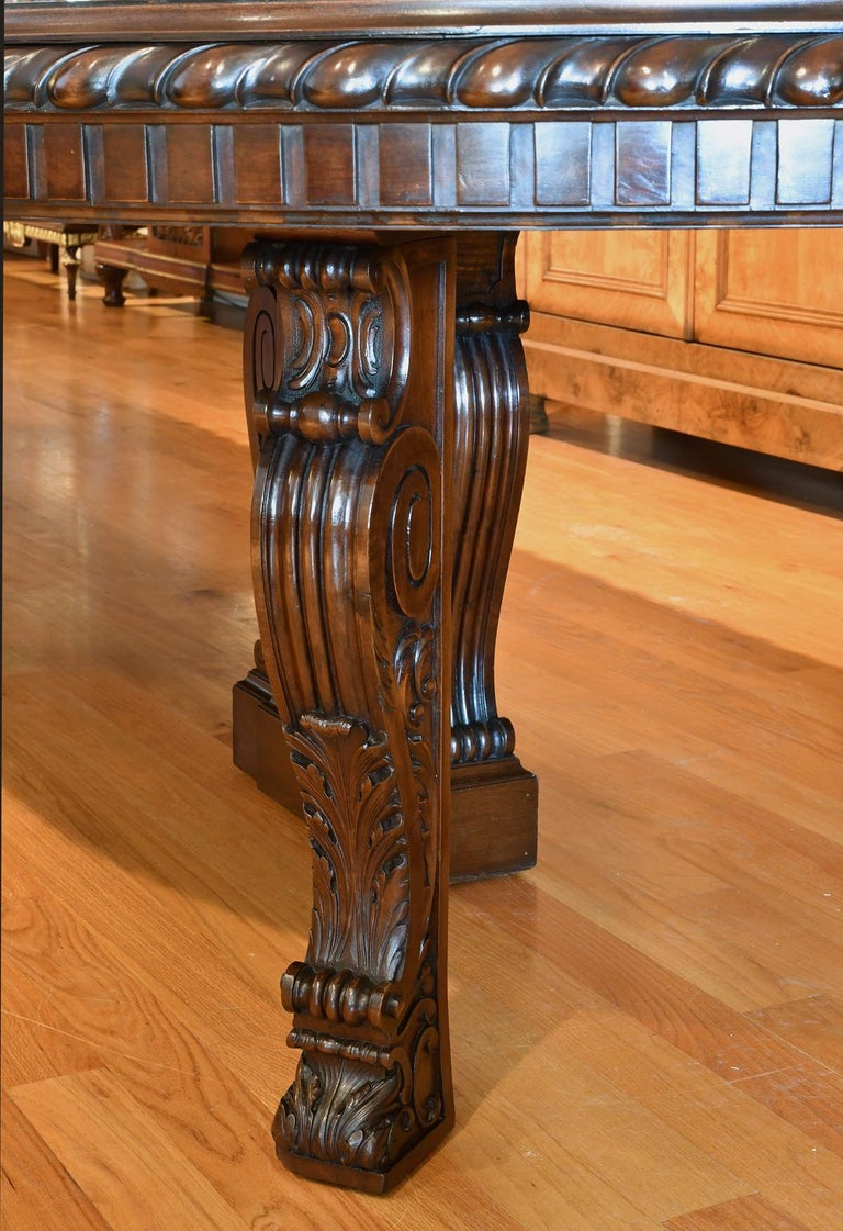 20 Ft. Long Belle Époque Extension Dining Table in Mahogany, New York, c. 1890 For Sale 6