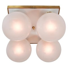 20 Mid-Century Modern Ceiling Chandeliers with Four Pearl White Glass Globes