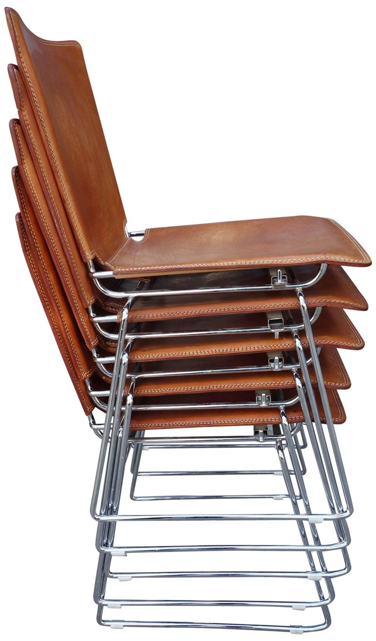 20 Midcentury Pelle Stacking Chairs By Icf At 1stdibs