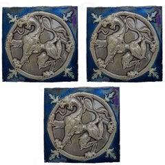 20 Relief Tiles by J. Parentani for La Majolique d'emptinne SA, 1896
