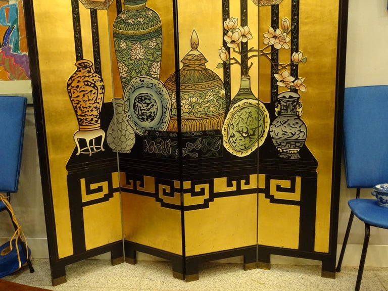 English 20th Century Black and Gold Lacquered Screen, 4 Leaves, Harrods, London