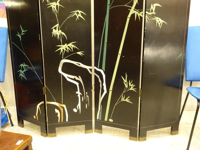 20th Century Black and Gold Lacquered Screen, 4 Leaves, Harrods, London 1