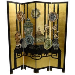 20th Century Black and Gold Lacquered Screen, 4 Leaves, Harrods, London