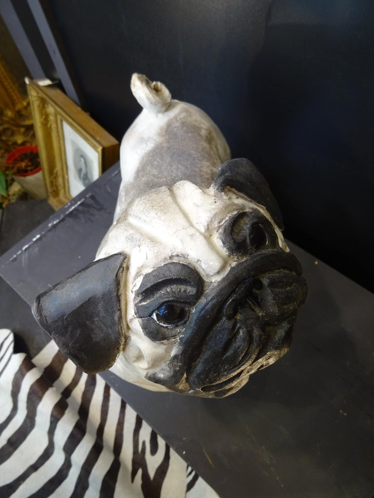 Hand-Crafted   French Bulldog  Black and White  Ceramic Sarreguimes