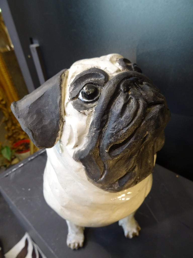 French Bulldog  Black and White  Ceramic Sarreguimes In Good Condition In Valladolid, ES