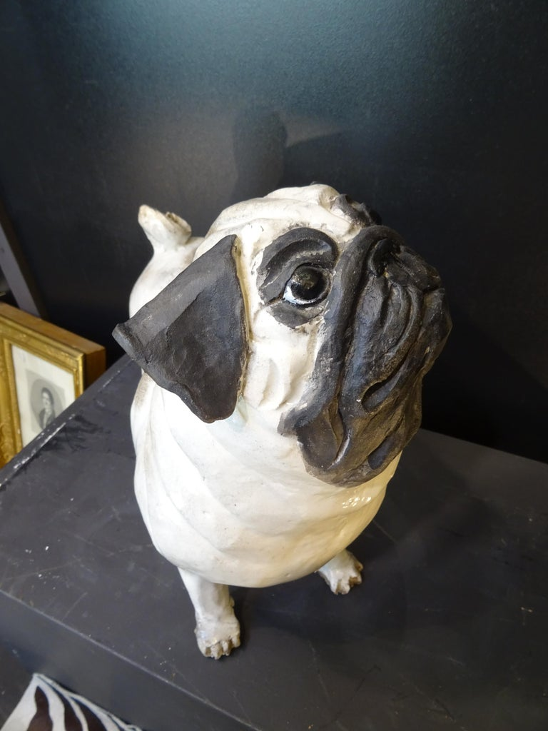 French Bulldog  Black and White  Ceramic Sarreguimes 1