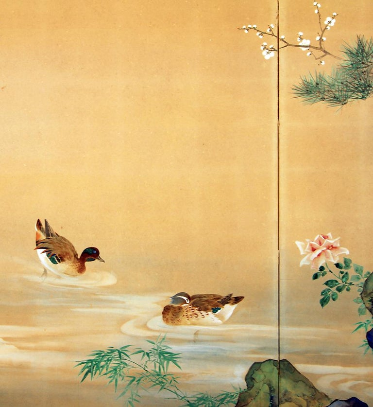 20th Century, Japanese Two Panels Screen Showa Period, Painted on Rice Paper In Excellent Condition For Sale In Brescia, IT