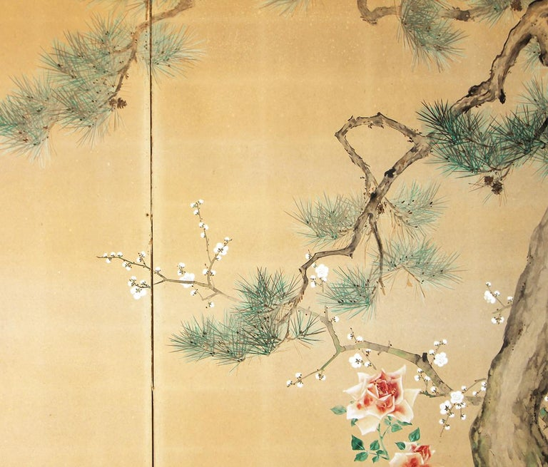 20th Century, Japanese Two Panels Screen Showa Period, Painted on Rice Paper For Sale 2