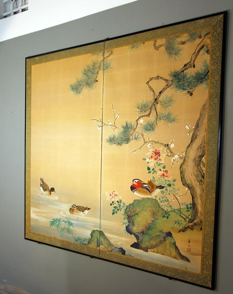 20th Century, Japanese Two Panels Screen Showa Period, Painted on Rice Paper For Sale 3