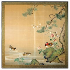 20th Century, Japanese Two Panels Screen Showa Period, Painted on Rice Paper