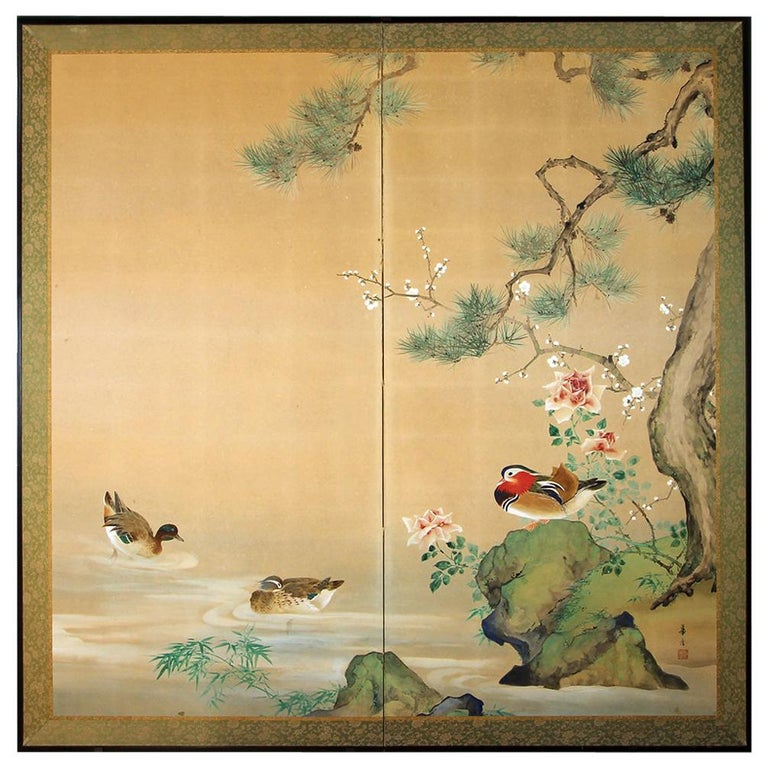 20th Century, Japanese Two Panels Screen Showa Period, Painted on Rice Paper For Sale