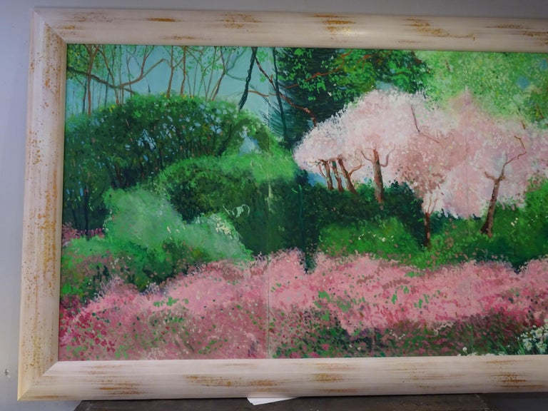 20th Century Painting Green Pink Mixed Technique on Paper  For Sale 9
