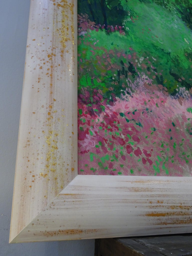 20th Century Painting Green Pink Mixed Technique on Paper  For Sale 10