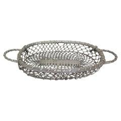 20th Mid-Century Aluminium Basket Centerpiece, France