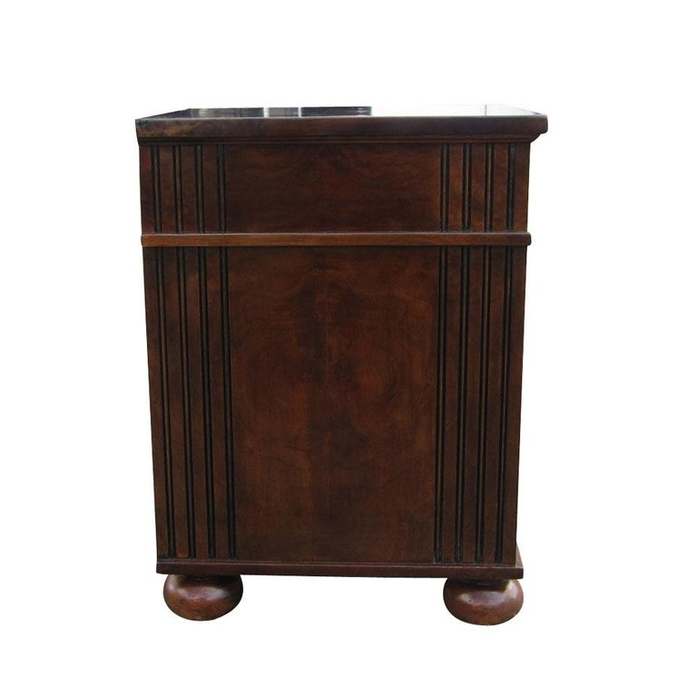 Scott Thomas Furniture    Two nightstands by Scott Thomas Furniture.    Rich burl wood with craftsman style lines and details. One drawer with storage underneath. Nickel pulls. Measures: 20