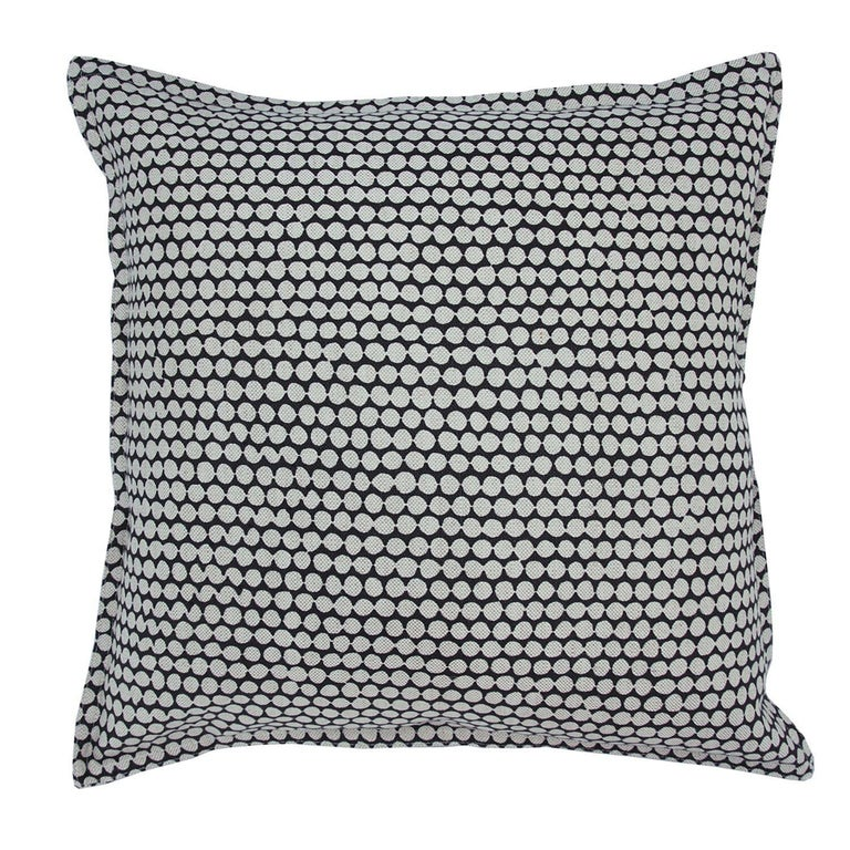 Charcoal Checker on Wheat Cotton Linen Pillow For Sale