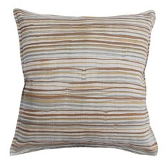 Desert Stripe on Wheat Cotton Linen Pillow