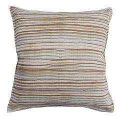 Desert Stripe on Wheat Cotton Linen Pillow