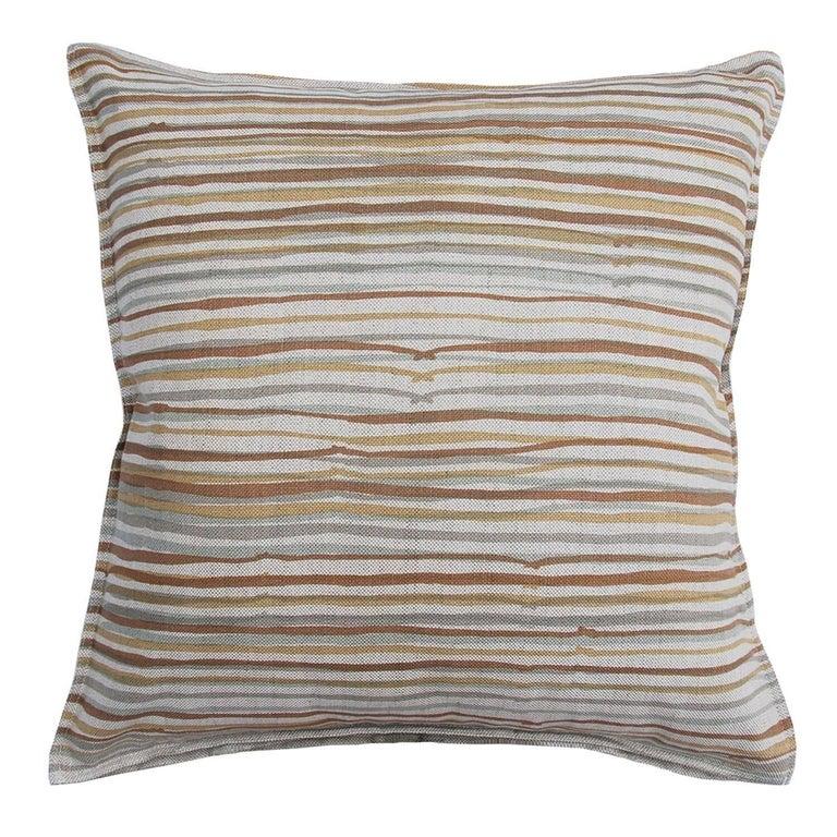 Desert Stripe on Wheat Cotton Linen Pillow For Sale