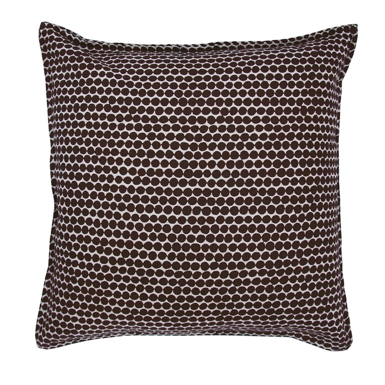 Espresso Beads on Wheat Cotton Linen Pillow