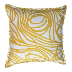 Lemon Ropes on Oyster Cotton Linen Pillow