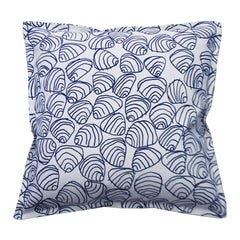 Navy Shells on Cotton Canvas Pillow